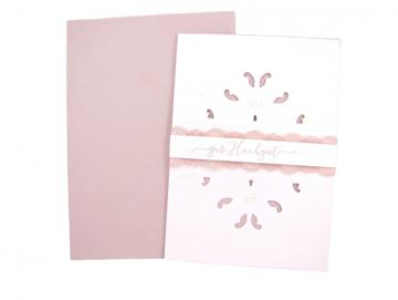 Hochzeitskarte Rosa Weiß