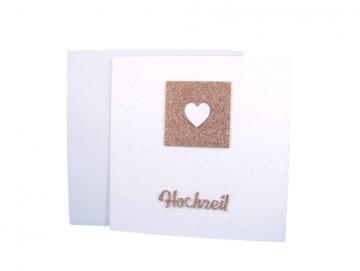 Hochzeitskarte Goldglitter