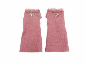 Kinderstulpen rosa Spitze